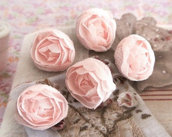 """Handmade Victorian Rustic Small Wedding Pink Floral Flower Lace Fabric Covered Buttons, Flat Back, 0.75"""" 5's"""