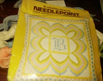 Vintage Needlepoint Kit Pastel Bargello Columbia Minerva 2455 Complete and Ready to Stitch