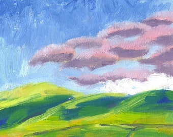 oil landscape painting 6x8 canvas pink clouds hills ... Clouds Arriving in the Valley