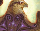 Celestial Messenger - Red Tail Hawk Feathers Hazelnut Celtic Goddess Spiral Gold Purple Stars
