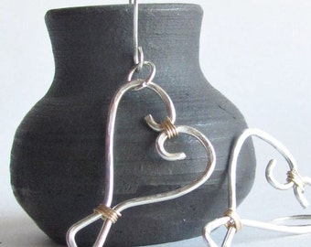 Sterling Silver Heart Earrings - Wire Heart Earrings - Hammered Silver