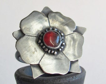 Tudor Rose Ring - Statement Ring - Carnelian Ring - Made to Order