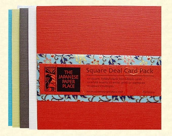 Sale! Japanese cards - Square Deal 10 Card Pack Autumn - Japanese Paper Place