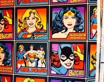Girl Power Wonder Woman Super Girl and Batgirl Block Fabric 1 yard