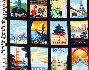 World Travel Post Cards Fabric By The Yard
