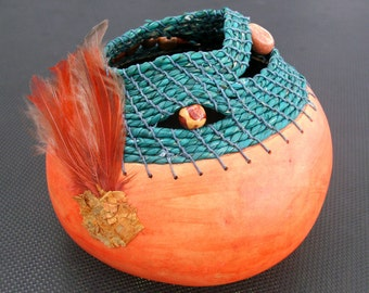 Small Gourd in Persimmon and Teal  Embellished with Feathers and Beads