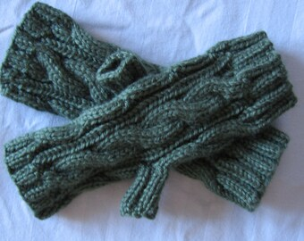 Moss Green Cable Fingerless Gloves Hand Made For Her
