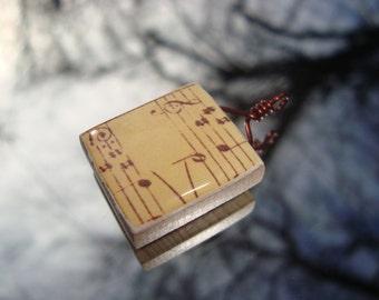 Sheet Music Scrabble Tile Pendant