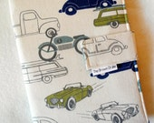 Fabric Notebook Organizer with Pockets, Pad, and Pen, Blue and Green Cars