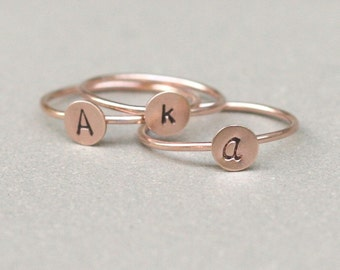 initial ring. ROSE gold monogram stacking ring. ONE hand stamped gold filled letter ring. personalized initial jewelry.