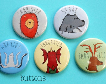Game of Thrones Cyber Monday Houses BUTTON set - Stark,Targaryen,Baratheon,Greyjoy,Lannister game of thrones gift present birthday