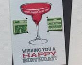 Happy Birthday! Next Round's on me - letterpress money card