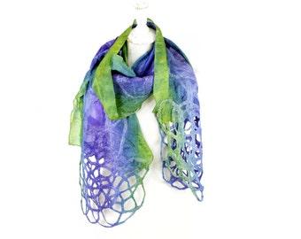 felted scarf, felt scarf, nuno, wool, silk, art, nunofelt, green blue violet, sale, kate ramsey felt