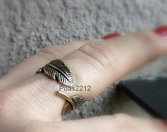 Antique Gothic Punk Women Ladies Tree leaf , adjustable ring, brass, german silver, handmade ring, gold