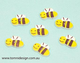50pc bulk pack - Wooden Bee Buttons