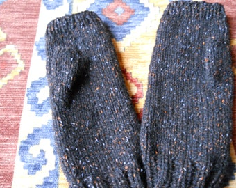 black ladies fingerless gloves, pure wool and silk gloves, pure wool and silk fingerless gloves