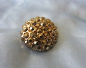 Vintage Button - 1 beautiful domed,gold faceted rhinestone embellished, antique gold finish metal (lot dec 165)