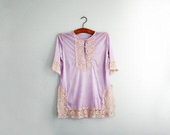 vintage 70s Lavender & Ecru Lae Night Shirt Nightie Nightgown M L