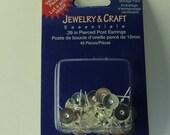 Base metal glue on backs for post pierced earrings, Bead Garage Sale