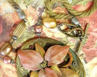 A Blooming Statement-Antique Vintage Victorian Buckle and Dyed Leather Flower Assemblage Necklace
