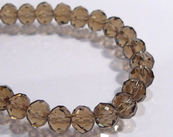 Smokey Quartz Glass Faceted Rondelle Beads...12 Beads......6x4mm