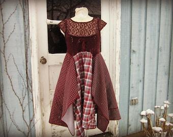 Sm. Burgundy Lace Upcycled Day Dress// Marsala Dress// emmevielle