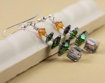 Green Xmas Earrings Christmas Jewelry Christmas Green Tree Earrings Topaz Crystal Tree Earrings Silver Xmas  Jewelry Silver Holiday Earrings