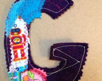 Fabric Letter G robot patch alphabet for use in your DIY project handmade shabby prim primitive supplies applique