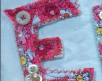 fabric E letter sewing project supplies quilted shabby patch alphabet