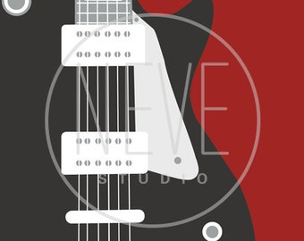 Electric Guitar art print, music wall art 13 x 19 boys room decor - available in different sizes in colors