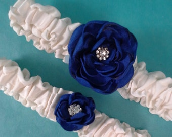Something Blue Wedding, Rose Bridal Garter Set A062 - wedding garter accessory