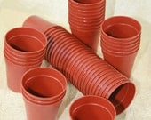 "50 Miniature Terracotta color Plastic Pots (45mm/1 and 3/4"") Small Plant Pots for growing plants/starts"