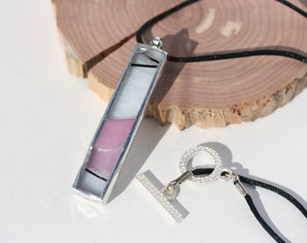 PINK MARTINI stained glass necklace jewelry pendant