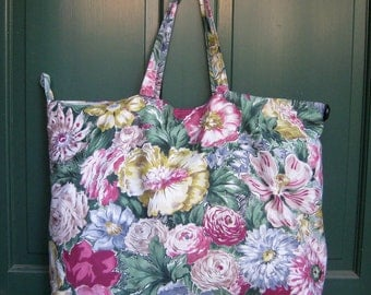 Large Vintage Fabric Tote Bag Purse Carry All
