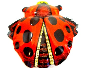 Lady BUG brooch, 60s metal insect ladybird toy costume jewelry, made in Japan.