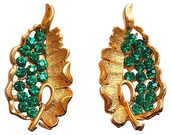 BSK Emerald Rhinestone & Gold Leaf Earrings