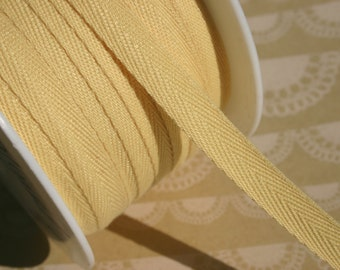 """Butter Yellow Twill Tape Trim - Sewing Bunting Banners Shipping Packaging - 3/8"""" - 10 Yards"""