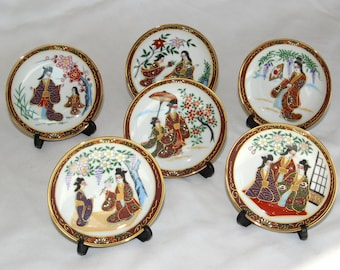 6 Small Plates Dishes Geisha Hand Painted Japan with Stands