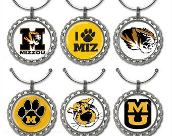 University of Missouri Mizzou Bottle Cap Wine Glass Charms Markers Set of 6