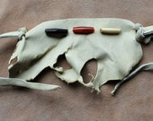 Cream deerskin leather cuff bracelet with real bone and horn pipe beads and leather tie-on straps