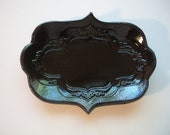 Ornate Black Gloss Spoon Rest or Tray