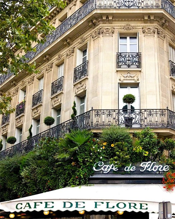 "Paris Photography, ""Cafe Flore"" Paris Print Extra Large Wall Art Prints, Paris Wall Decor, Literary Art, 20s Paris"