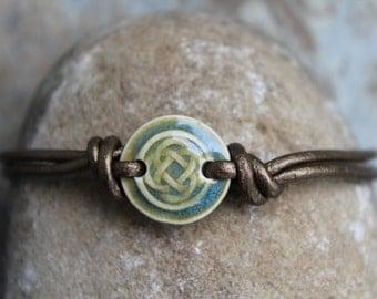 Green Celtic Knot Leather Bracelet