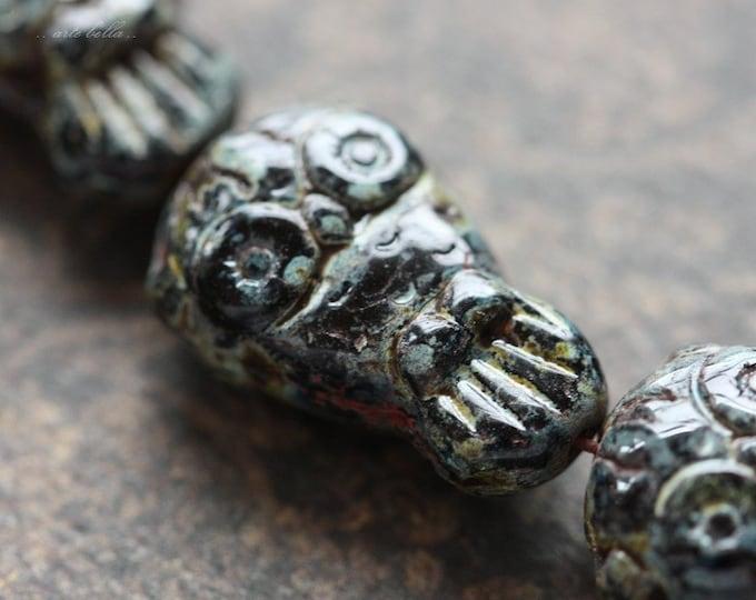 MIDNIGHT OWLS .. 6 Premium Picasso Czech Glass Owl Beads 11x18mm (4236-6)