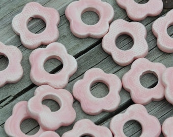 5 Larger Pottery Flower Beads In a Soft Pink