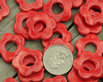5 Larger Pottery Flower Beads In a Tamale Red