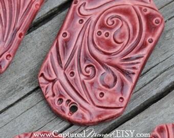 Pottery Bracelet Bead, The Carmine Bead in Marsala
