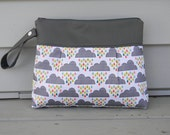 Custom Order for Liz  Diaper Clutch Gray Clouds and Rain Drops with Waterproof Lining