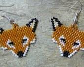Fox Head Earrings Hand Made Seed Beaded