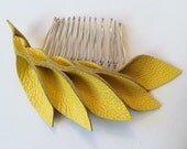 Yellow leather hair comb